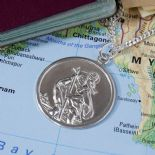 Mens Silver Saint Christopher, 26mm personalised engraved with chain, ref. SCP26